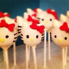 For Andrea - Hello Kitty cake pops!  These are from a Minneapolis bakery called Raspberry Bird Cake Pops.