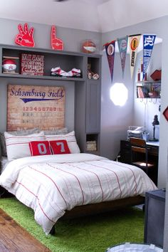 Nice Deco Chambre Nba that you must know, You?re in good company if you?re looking for Deco Chambre Nba Boys Baseball Bedroom, Boy Sports Bedroom, Big Boy Bedrooms, Boys Bedroom Decor, Bedroom Ideas, Sports Room Kids, Baseball Room Decor, Modern Teen Bedrooms, Sports Room Decor