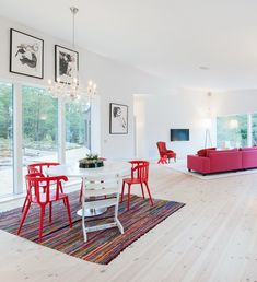 Hotels & Resorts, Contemporary Villa With Colorful Interior Design By pS Arkitektur: Black And White Bathroom Nuance With Red Accents Colorful Interior Design, Interior Design Inspiration, Colorful Interiors, Interior Exterior, Interior Architecture, Exterior Design, Design Furniture, Colorful Furniture, My Living Room