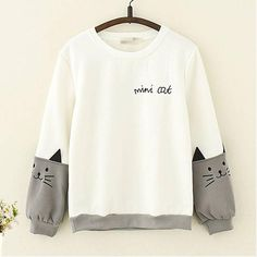 Complete your look with this Cat Embroidery Long Sleeve Hoodie. This cute long sleeve hoodie for women is perfect for cold and rainy seasons. Kawaii Fashion, Cute Fashion, Fashion Outfits, 50 Fashion, Fashion Styles, Sweat Style, Kawaii Clothes, Anime Outfits, Sweater Hoodie