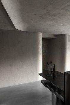 HODDI INTERIOR/ Memory on Behance Minimalist Architecture, Interior Architecture, Pretty Things, Wall Design, House Design, Interior Ceiling Design, Internal Design, Curved Walls, Workplace Design