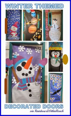 Winter Themed Decorated Doors in Early Elementary via RainbowsWithinReach