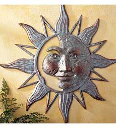 Mysterious Sunface Wall Sculpture for indoor or outdoor display