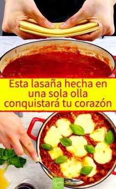 Esta lasaña hecha en una sola olla conquistará tu corazón. Lasaña boloñesa hecha en una sola olla. ¡La receta de lasaña más fácil del mundo! ¡Y sin horno! #lasaña #boloñesa #lasañaboloñesa #recetas #recetasitalianas #recetadelasaña #lasañafacil #recetasfaciles #recetaenunaolla One Pan Dinner, Tasty, Yummy Food, One Pot, Mets, Pasta Dishes, Lasagna, Chicken Recipes, Food And Drink