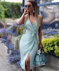 Spaghetti Strap V-Neck Wrap Slit Dress - Women Store Cute Dresses, Beautiful Dresses, Casual Dresses, Midi Dresses, Wrap Dresses, Amazing Dresses, Trendy Dresses, Paris Chic, Classy Dress