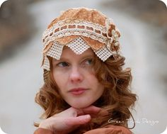 Copper Calico Cloche Hat by GreenTrunkDesigns on Etsy