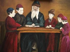 Jewish sage teaches his sons. Painting. by Quzzart on Etsy
