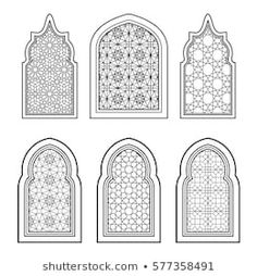 Set of arabic traditional ornamental windows in black and white. For greeting card, coloring page, design in islamic style Islamic Art Pattern, Arabic Pattern, Pattern Art, Arabic Design, Arabic Art, Motifs Islamiques, Motif Arabesque, Arabian Decor, Mosque Architecture