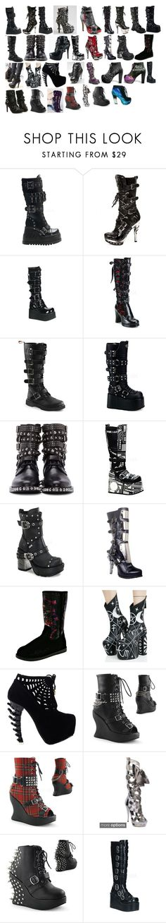 """Lanya's Boots"" by switchback13 on Polyvore featuring Iron Fist, Demonia, Yves Saint Laurent, HADES, Ed Hardy, Dr. Martens and Disney"
