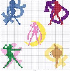 Japanese Embroidery Patterns My Cross-Stitch 500 by Makoto Oozu - Japanese Embroidery Pattern Book - Kawaii World One-Point Motif - Cross Stitch Charts, Counted Cross Stitch Patterns, Cross Stitch Embroidery, Cross Stitch Love, Sailor Moon, Embroidery Patterns Free, Beading Patterns, Perler Beads, Kawaii Cross Stitch