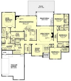 European Style House Plan - 4 Beds 3.5 Baths 3287 Sq/Ft Plan #430-130 Floor Plan - Main Floor Plan - Houseplans.com