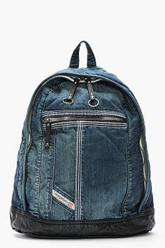 Diesel Blue Denim Leather-trimmed Brave Ride Backpack for men | SSENSE