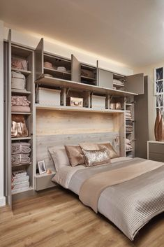 Bedroom wall: Over Bed Storage in 2019 Fitted bedrooms, Fitted bedroom furniture, Small bedroom storage Small Bedroom Storage, Small Master Bedroom, Small Bedroom Designs, Bed Storage, Narrow Bedroom Ideas, Design Bedroom, Small Bed Room Ideas, Adult Bedroom Ideas, Bedroom Ideas For Small Rooms For Adults