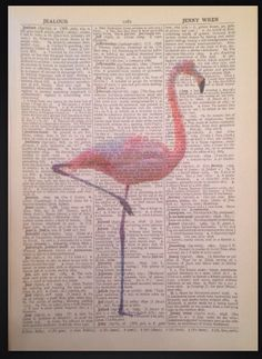 Flamingo Steampunk Quirky Vintage Dictionary page Wall Art Imprimé Photo Rose