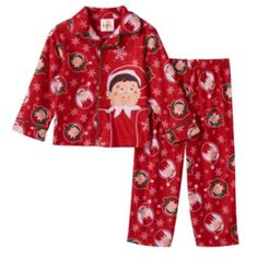 Toddler+Boy+The+Elf+on+the+Shelf+Pajama+Set  Where will the elf show up next? He's right here on this boys' The Elf on the Shelf pajama set. In red/multi.  PRODUCT FEATURES 2-piece set includes: button-down top & pants Top: button front, long sleeves Pants: elastic waistband The Elf on the Shelf graphic & all-over print FABRIC & CARE Polyester Machine wash For children's safety, garments should be snug fitting or flame resistant. These are flame resistant garments. Imported