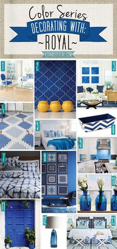Color Series; Decorating with Royal. Royal home decor | A Shade Of Teal: