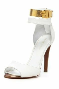 4d895b1c Sergio Rossi ~ Peep Toe White High Heel w Gold Ankle Strap, 2015