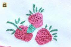 On Sale Five Vintage Cotton Hand Embroidered and Appliqued Table Mats with strawberry design. pict 2