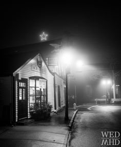 A final night at Sacks Antiques is captured in this black and white image from a foggy evening in Marblehead, MA White Image, Sacks, Massachusetts, Finals, Sweet Home, Louvre, Black And White, Night, Antiques
