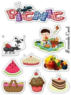 Free Stickers, Printable Stickers, Free Printables, Bolo Picnic, Picnic Birthday, Paper Crafts, Arts And Crafts, Classroom Themes, Cake Toppers