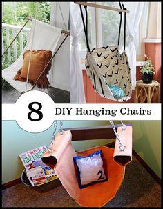 amazing DIY hanging chair tutorials. So many fun ideas!