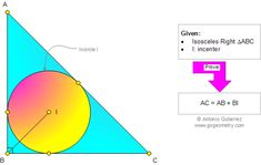 Geometry Problem Isosceles Right Triangle, 45 Degrees, Incenter, Angle Bisector, Hypotenuse Geometry Help, Sacred Geometry, Geometry Questions, Maths Tricks, Class 12 Maths, Geometry Problems, Right Triangle, Science, Mathematics