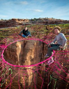 """The """"pentagon space net"""" is a slackline-suspended, over-sized hammock hung above the Fruit Bowls outside Moab, Utah."""