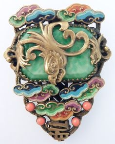 MAX & NORBERT NEIGER ART DECO 'CHINESE' DRESS CLIP BROOCH: VINTAGE CZECH GLASS
