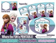 Super Party Kit  Disney Frozen Anna Elsa Fiesta por Printnfun, €18.00 #frozenparty #frozen #frozenprintables #frozeninvitations #glitter #frozenlabels