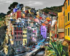 Riomaggiore, Italy.  The village, dating from the early thirteenth century, is known for its historic character and its wine, produced by the town's vineyards.  #travel #italy #winery