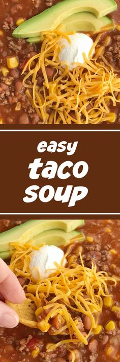 Easy Taco Soup is loaded with ground beef, chili beans, corn, and tomatoes. One pot and about 30 minutes is all you need for this taco soup recipe. Chicken Soup Recipes, Easy Soup Recipes, Chili Recipes, Mexican Food Recipes, Crockpot Recipes, Cooking Recipes, Recipe Lists, Dinner Recipes, Chowder Recipes