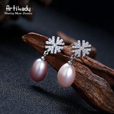 Artilady rosa genuino joyería de la perla del copo de nieve aretes collar de perlas de plata de ley 925 para las mujeres de la boda(China (Mainland))