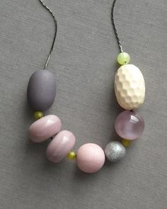 last one - oysters necklace - vintage lucite and gunmetal