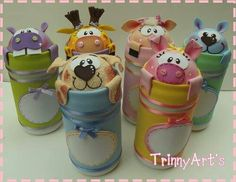 . Tin Can Crafts, Foam Crafts, Handmade Crafts, Diy And Crafts, Candy Art, Baby Food Jars, Animal Crafts, Diy Projects To Try, Baby Food Recipes