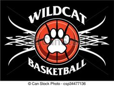 Vector - wildcat basketball - stock illustration, royalty free illustrations, stock clip art icon, stock clipart icons, logo, line art, EPS picture, pictures, graphic, graphics, drawing, drawings, vector image, artwork, EPS vector art