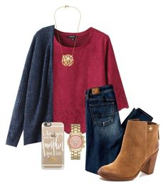 """i love you more than pumpkin spice lattes"" by emily-ta ❤ liked on Polyvore featuring American Eagle Outfitters, Merona, Casetify and Tory Burch"