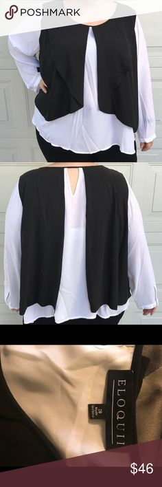 PLUS Eloquii Flowy Black & White Overlay Blouse Never worn black and white flowy blouse from Eloquii! Size 28. 100% polyester. White long sleeved shirt with built in black folded, open vest on front and back. Sleeves have an adjustable button closure. No stretch. A-line shape. May be a little short on those with long torsos. (SIZING NOTE: My size has changed since originally buying this piece, so it's a little large on me in the photos, however this fits a true size 26/28 perfectly!) Eloquii…