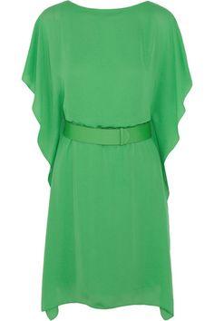 Halston Heritage green belted dress