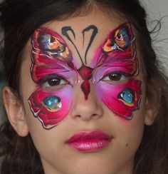 Red Butterfly face painting by Nurit pilchin