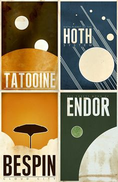 Tatooine, Hoth, Bespin, and Endor minimalist style posters