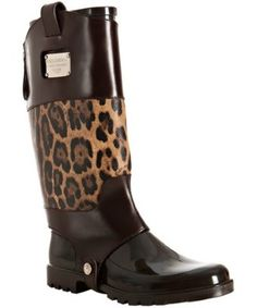 Dolce & Gabbana brown rubber and leopard leather cover rainboots   BLUEFLY up to 70% off designer brands at bluefly.com