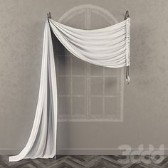Асимметричная штора на кронштейнах с противовесом
