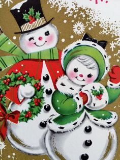 Brightly Colored - Cute Snowman Couple - 1950's Vintage Christmas Greeting Card