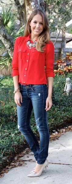 Outfit Pantalon Blanco Blusa Azul - Buscar Con Google | Ropa Chick | Pinterest | Traje Y Bu00fasqueda
