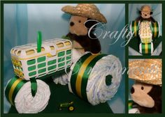John Deere Themed Tractor Diaper Cake - Crafty ComplimentsCrafty Compliments