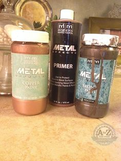 Modern Masters Metal Effects Tutorial by A to Z Custom Creations. Faux metal patina in minutes. Patina Paint, Patina Metal, Rust Paint, Faux Painting, Painting Tips, Paint Furniture, Furniture Makeover, Funky Furniture, Furniture Design