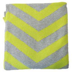Cotton knit cot blanket chevron - grey neon yellow