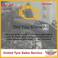 It doesn't mean you have to pull your car over to the side of the road and call your mechanic. It does mean you should get the car checked out as soon as possible #WeCare #TyreCare #WheelAlignment — in Ahmedabad, India.