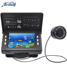 """Professional Fish Finder Underwater Fishing Video Camera Monitor with 3.5"""" Color LCD Screen & Infrared Leds & 15M Cable"""