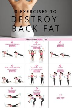 #destroybackfat #backfat #exercisesforwomen #femalefitness #getintoshape #mybackisfat  Here are 8 exercises to get rid of lower back fat! Go through the circuit three times for a real burn! Dont forget to repin if this helped you!
